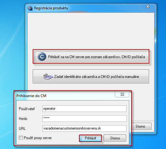 Login to CM server to select a customer, under which you want to register the PC