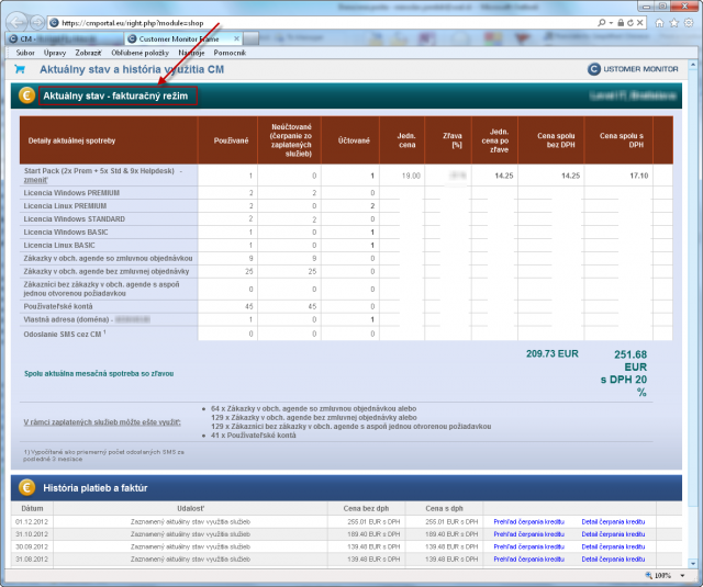 Activated invoicing mode and overview of drawn services