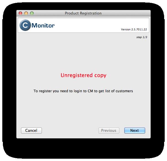 Prompt for C-Monitor's registration to CM server