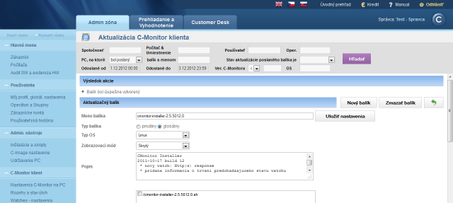 Successful import of the update package to CM portal