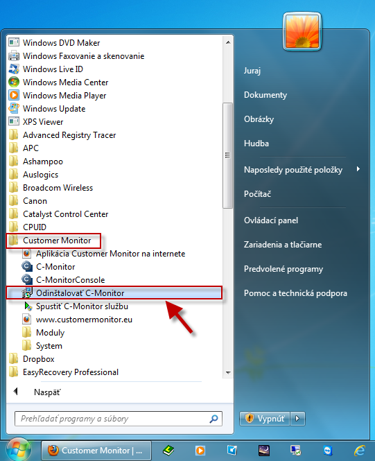 C-Monitor client uninstallation through Windows